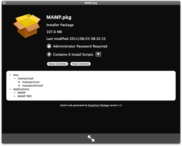a quicklook on MAMP install package